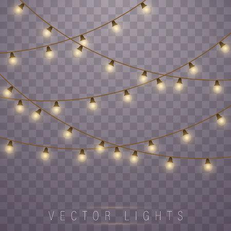 Lampki choinkowe na przezroczystym tle. Ledowa lampa neonowa. Świecące światła na kartki świąteczne, banery, plakaty, projektowanie stron internetowych. Dekoracje girlandowe.