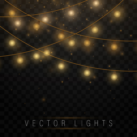 Yellow christmas lights isolated realistic design elements.Christmas lights isolated on transparent background. Xmas glowing garland. Vector illustration. Illustration