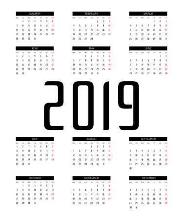 Calendar 2019 Trendy Minimalist Style. Black and white vector template. Pocket square calender.