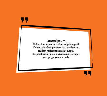 Creative vector banner illustration with a quote in a frame with quotes.Innovative vector quotation template in quotes against the orange backdrop.