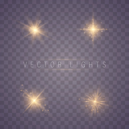 Golden lights sparkles isolated. Vector illustration of glowing lens flares and sparks. Set of glowing stars. Vector illustration