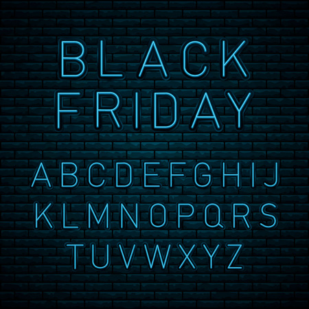 Black Friday neon lettering on brick wall background with the alphabet. Concept of advertising for seasonal offer with glowing neon text. Super sale. Vector realistic isolated neon sign.