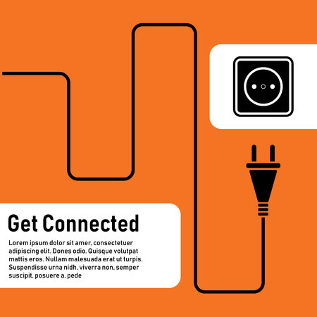 Connect idea. Concept connection, disconnection, electricity. Cable concept with plug and socket in background.