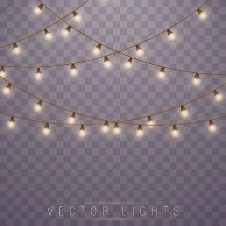 Luci di Natale isolate su sfondo trasparente. Lampada led al neon. Luci incandescenti per biglietti di auguri natalizi, striscioni, poster, web design. Decorazioni di ghirlande.