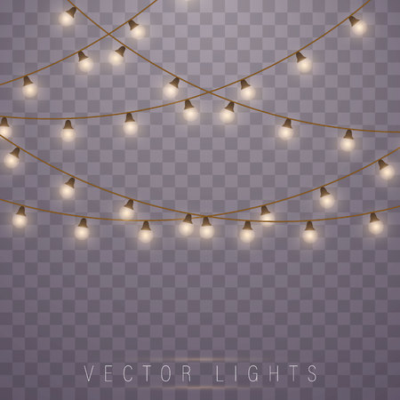 Christmas lights isolated on transparent background. Led neon lamp. Glowing lights for Xmas Holiday cards, banners, posters, web design. Garlands decorations.