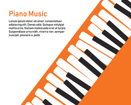 Grunge black and white piano keyboard. Piano on an orange background  Stock vector illustration for poster, music performance, jazz festival. 向量圖像