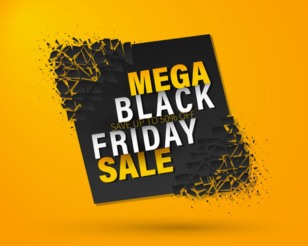 Black Friday Sale Abstract Background. Set of transparent geometric vector banners. Super sale. Vector Banner with explosion effect. Vector Illustration