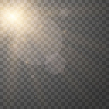 Lens flare light effect. Sunlight a translucent special design of the light effect. Sun rays with beams isolated on transparent background. Yellow detonation effect. Vector illustration.