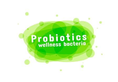 Probiotika Bakterien Logo. Präbiotisches Lactobacillus-Vektor-Symbol-Design. Medizinisches Symbolvektor nahtloses Muster. Weißer Hintergrund, der von den Pillen und von den Kapseln gemacht wird. Vektor-Illustration.
