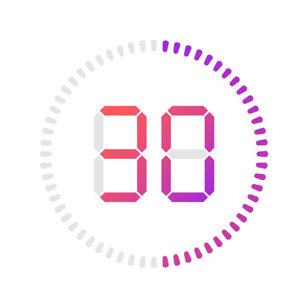 The 30 minutes, stopwatch vector icon, digital timer. Vector digital count down circle board with circle time pie diagram. Watch outline style design, designed for web and app. Illustration