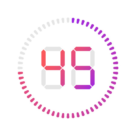 The 45 minutes, stopwatch vector icon, digital timer.Vector digital count down circle board with circle time pie diagram. Watch outline style design, designed for web and app.
