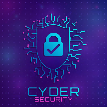 Concept of personal data protection. Concept of firewall protection, privacy access, private data, safety service or system image. Fingerprint scanning on circuit board vector illustration.