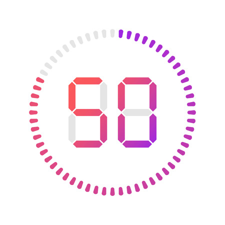 The 50 minutes, stopwatch vector icon, digital timer. Vector digital count down circle board with circle time pie diagram. Watch outline style design, designed for web and app.