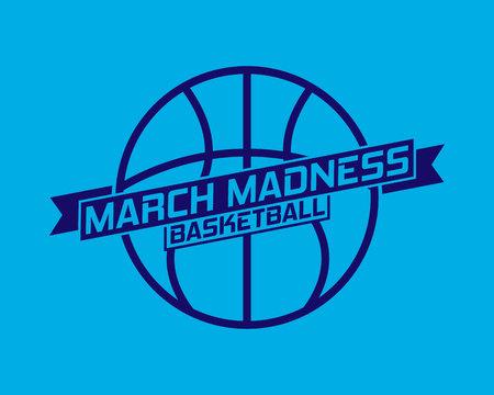 Projekt sportowy March Madness do koszykówki. Logo turnieju koszykówki, godło, wzory z piłką do koszykówki.