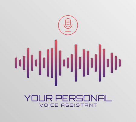 Fondo dell'estratto di vettore dell'onda sonora. Banner di segnale musicale di tecnologia. Assistente personale e concetto di riconoscimento vocale. Sfondo vettoriale di tecnologia intelligente