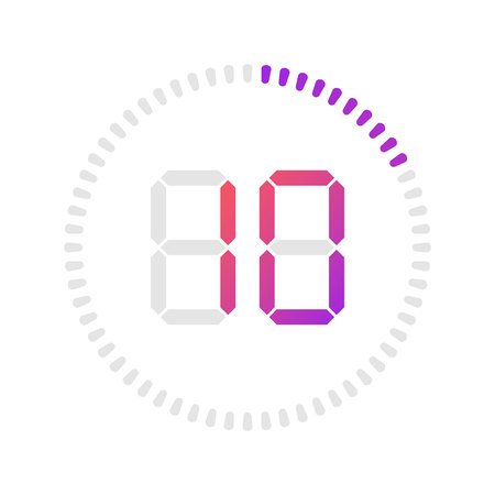 The 10 minutes, stopwatch vector icon, digital timer. Vector digital count down circle board with circle time pie diagram. Watch outline style design, designed for web and app.  イラスト・ベクター素材