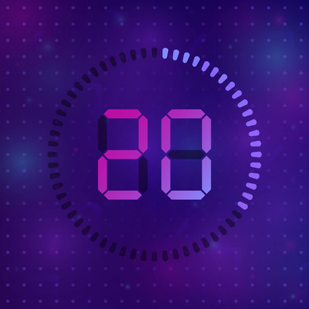 The 20 minutes, stopwatch vector icon, digital timer. Vector digital count down circle board with circle time pie diagram. Watch outline style design, designed for web and app. Vectores