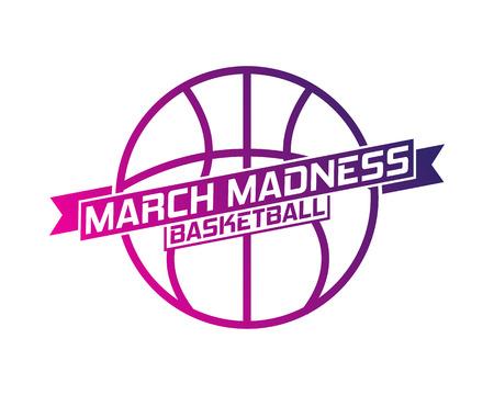 Diseño deportivo de baloncesto March Madness. Logotipo del torneo de baloncesto, emblema, diseños con pelota de baloncesto. Logos