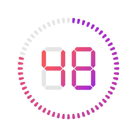 The 48 minutes, stopwatch vector icon, digital timer.Vector digital count down circle board with circle time pie diagram. Watch outline style design, designed for web and app.  イラスト・ベクター素材