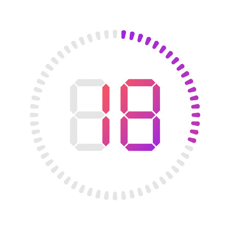 The 18 minutes, stopwatch vector icon, digital timer. Vector digital count down circle board with circle time pie diagram. Watch outline style design, designed for web and app.