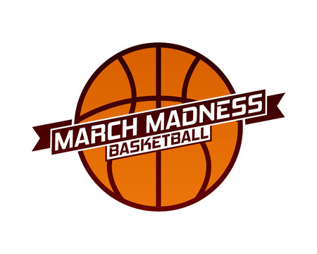 March Madness basketball sport design. Basketball tournament logo, emblem, designs with basketball ball. 스톡 콘텐츠 - 117128583