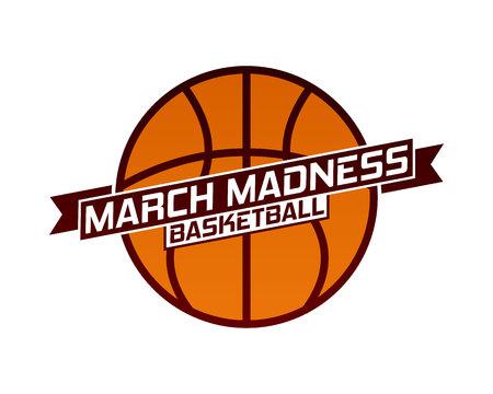 Projekt sportowy March Madness do koszykówki. Logo turnieju koszykówki, godło, wzory z piłką do koszykówki. Logo