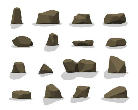 Flache Illustration der Karikatur - eine Reihe von Felsensteinen. Set aus verschiedenen Felsbrocken. Die Umgebung des Hintergrunds. Vektorgrafik
