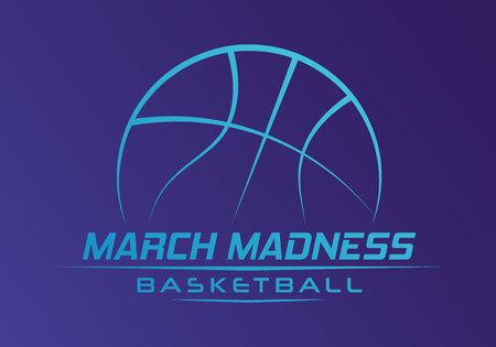 Conception de sport de basket-ball de folie de mars. Logo du tournoi de basket-ball, emblème, dessins avec ballon de basket-ball. Logo