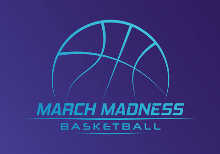 March Madness basketball sport design. Basketball tournament logo, emblem, designs with basketball ball.
