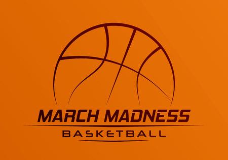 März Madness Basketball-Sport-Design. Basketball-Turnierlogo, Emblem, Designs mit Basketballball. Logo