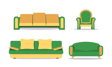 Sofa colored vector set. Collection of sofa illustration. Comfortable couch collection isolated on white background for interior design. Иллюстрация