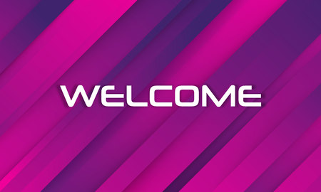 Welcome. Celebration greeting holiday illustration. Trendy Abstract Background. Memphis abstract color background design. Colorful welcome sign over dark blue background. Holographic Colour Gradient.