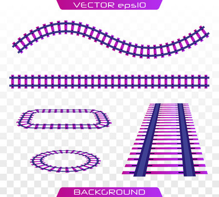 Rails and sleepers. Creative vector illustration of curved railroad isolated on background. Railway, a set of railroad tracks.   Flat design, vector illustration.