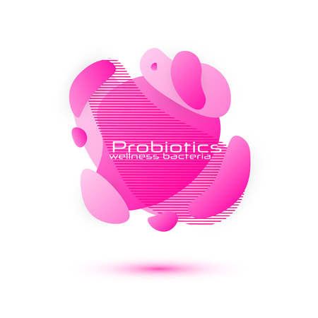 Probiotics bacteria vector design. Lactobacillus Vector Icon Design. Medical icons vector seamless pattern. Gradient geometric banners with flowing liquid shapes. Ilustração