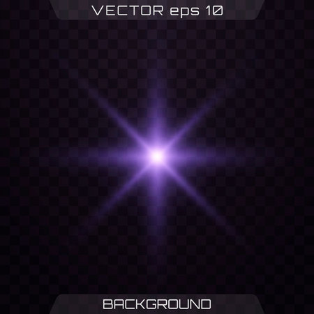 Purple glowing light. Blue and violet glowing effect. Set of glowing stars. Vector illustration. Lights sparkles isolated, lens flare, explosion, glitter, line, sun flash, spark and stars.