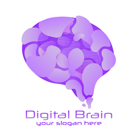 Brain Logo silhouette design vector template. Brain concept with medical, health, healthcare, nurse, tooth, thermometer, doctor, pills and cross icon. Think Idea concept. Иллюстрация