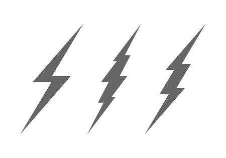 Lightning Bolt Minimal Simple Symbol. Vector Set of Black Thunder Lighting Icons.