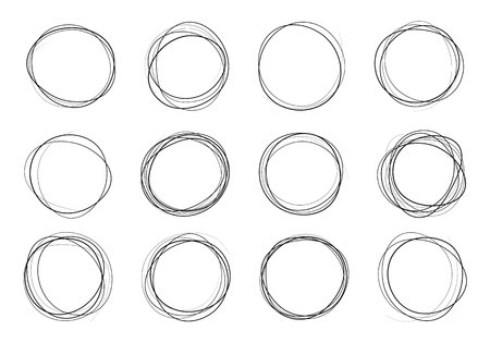 Vector bubbles speech doodle set. hand-drawn. Art design round circular scribble doodle. Hand drawn circle line sketch set.