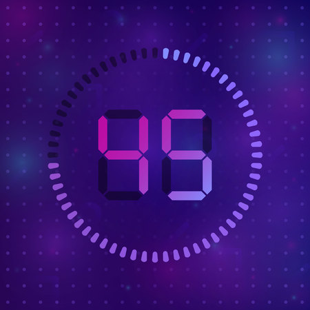 The 45 minutes, stopwatch vector icon, digital timer. Vector digital count down circle board with circle time pie diagram. Watch outline style design, designed for web and app.