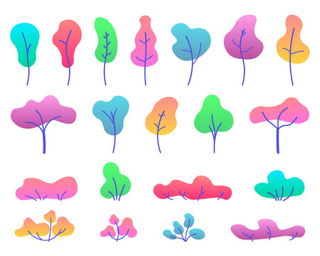 Flat trees set. Various trees, herbs and shrubs in a flat style. Isolated simple cartoon trees on white background. Landscape element design. Vector flat illustration. Ilustração