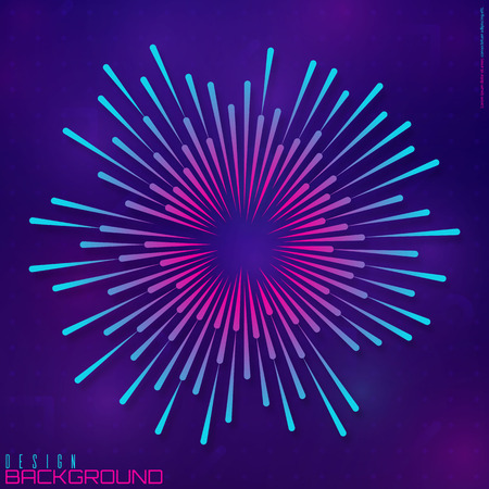 Festive firework or confetti explosion. Circular geometric centric motion pattern. Light rays of burst. Rays radiating from a central object or source of light. Gradient shapes composition.