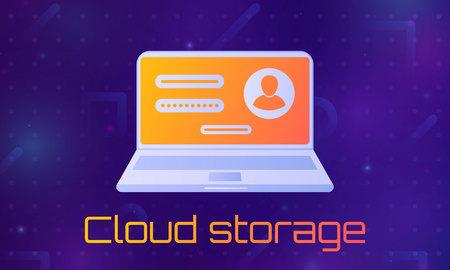 Desktop computer with unlocked password bubble notification. Cloud file storage. concept of security, personal access, user authorization, login form icon, internet protection. Ilustração