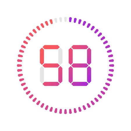 The 58 minutes, stopwatch vector icon, digital timer. Vector digital count down circle board with circle time pie diagram. Watch outline style design, designed for web and app. Иллюстрация