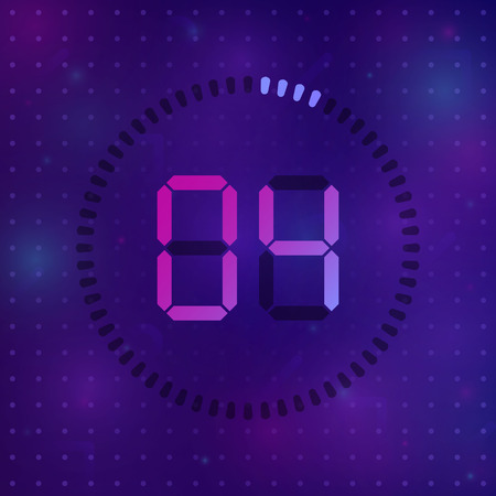 The 4 minutes, stopwatch vector icon, digital timer. Vector digital count down circle board with circle time pie diagram. Watch outline style design, designed for web and app. Иллюстрация