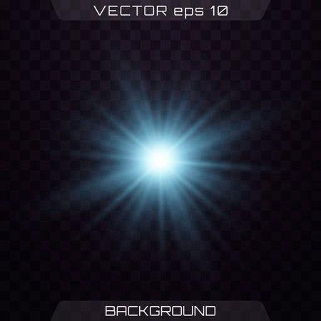 Blue lights on a transparent background. Set of light effects. Lights sparkles isolated, lens flare, explosion, glitter, line, sun flash, spark and stars.  Vector illustration.