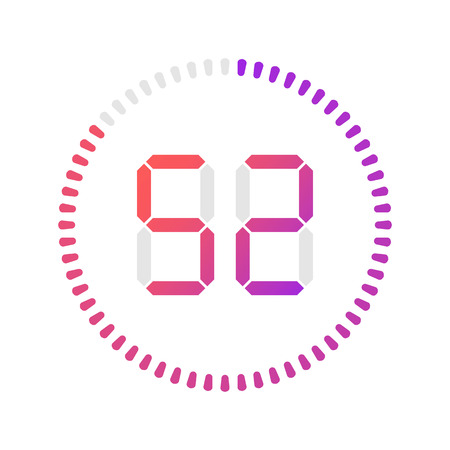 The 52 minutes, stopwatch vector icon, digital timer. Vector digital count down circle board with circle time pie diagram. Watch outline style design, designed for web and app.