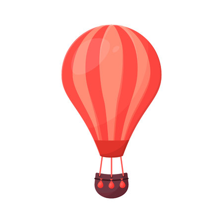 Hot Air Balloon and Clouds.  Flat cartoon design. Drawing for print, card, flyer, fabric, textile, poster.
