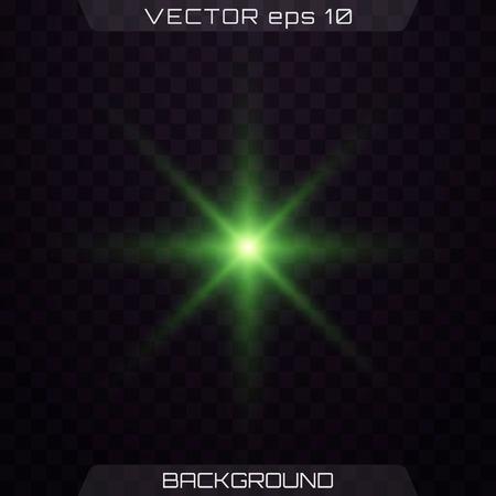 Green horizontal lens flares pack. Vector green glowing lights on transparent background. Spark, star burst, flash. Transparent shining sun, bright flash.