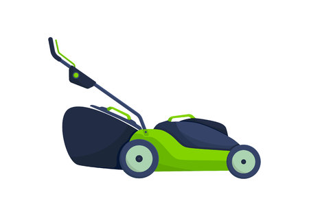 Electric yellow lawn mower in summertime. Lawn grass service concept. Flat style. Vector Illustration. Иллюстрация