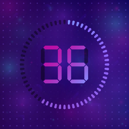 The 36 minutes, stopwatch vector icon, digital timer. Vector digital count down circle board with circle time pie diagram. Watch outline style design, designed for web and app.